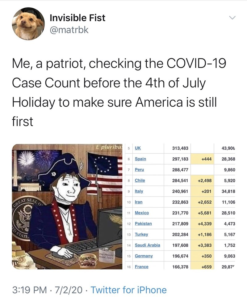 Text - Invisible Fist @matrbk Me, a patriot, checking the COVID-19 Case Count before the 4th of July Holiday to make sure America is still first E pluribu 5 UK 313,483 43,906 6 Spain 297,183 +444 28,368 7 Peru 288,477 9,860 Chile 284,541 +2,498 5,920 9. Italy 240,961 +201 34,818 SEAL O 10 Iran 232,863 +2,652 11,106 GREAT 11 Mexico 231,770 +5,681 28,510 12 Pakistan 217,809 +4,339 4,473 13 Turkey 202,284 +1,186 5,167 INAS CE 14 Saudi Arabia 197,608 +3,383 1,752 Her Majert Ryel Teari 15 Germany. 19
