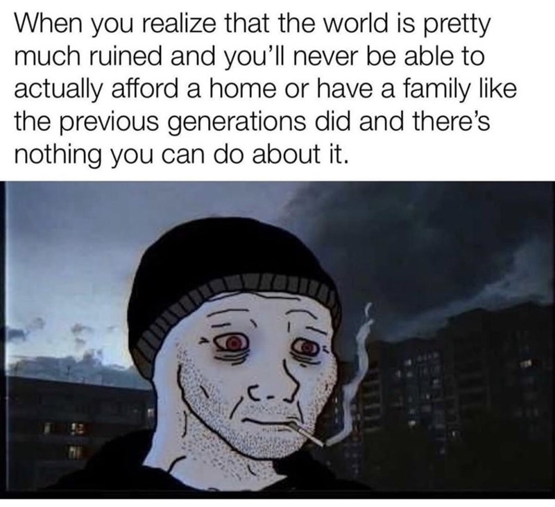 Text - When you realize that the world is pretty much ruined and you'll never be able to actually afford a home or have a family like the previous generations did and there's nothing you can do about it. C.