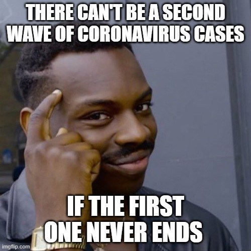 Internet meme - THERE CANT BE A SECOND WAVE OF CORONAVIRUS CASES IF THE FIRST ONE NEVER ENDS imgflip.com