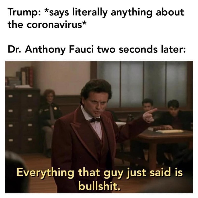 Text - Trump: *says literally anything about the coronavirus* Dr. Anthony Fauci two seconds later: Everything that guy just said is bullshit.