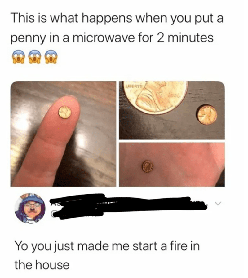 Skin - This is what happens when you put a penny in a microwave for 2 minutes LIBERTY Yo you just made me start a fire in the house