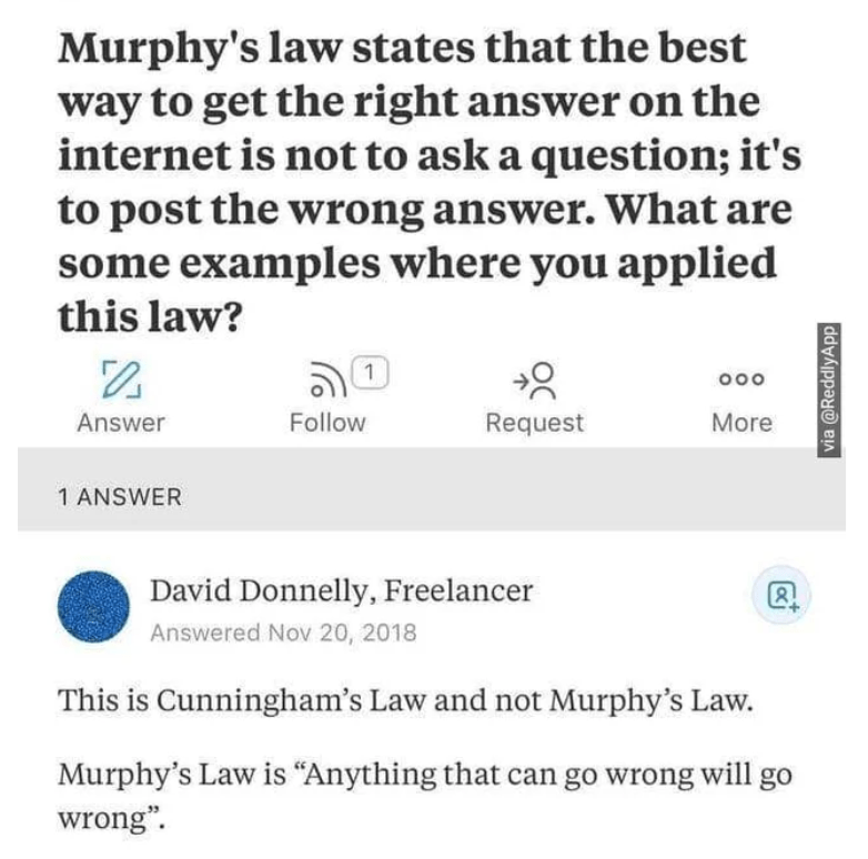 """Text - Murphy's law states that the best way to get the right answer on the internet is not to ask a question; it's to post the wrong answer. What are some examples where you applied this law? ఎం 1 000 Answer Follow Request More 1 ANSWER David Donnelly, Freelancer Answered Nov 20, 2018 This is Cunningham's Law and not Murphy's Law. Murphy's Law is """"Anything that can go wrong will go wrong"""". via @ReddlyApp"""