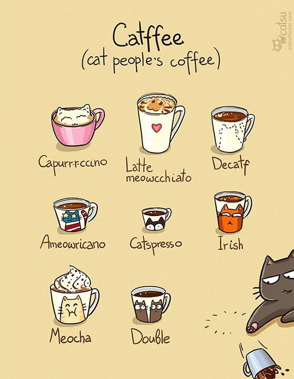 Cartoon - Catfee (cat people's coffee) Capurrccino Latte Decate meowcchiato Ameowricano Catspresso Irish Meacha Double catsu catsuthecat.com