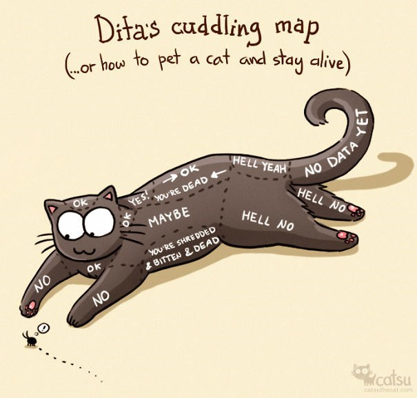 Cartoon - Ditas cuddling map (.or how to pet a cat and stay alive) HELL YEAH > OK NO DATA HELL NO YES! YOU'RE DEAD MAYBE HELL NO YOU'RE SHREDDED OK & BITTEN & DEAD NO catsu catauthedat com ON