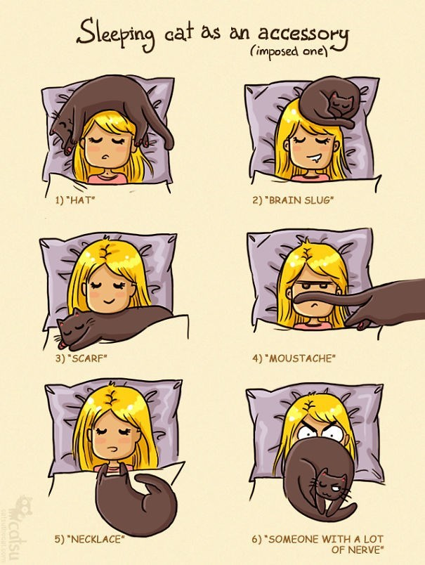 """Cartoon - Sleeping at as an accessory (imposed one) 1) """"HAT"""" 2) """"BRAIN SLUG"""" 3) """"SCARF"""" 4) """"MOUSTACHE"""" 5) """"NECKLACE"""" 6) """"SOMEONE WITH A LOT OF NERVE"""" catsu"""