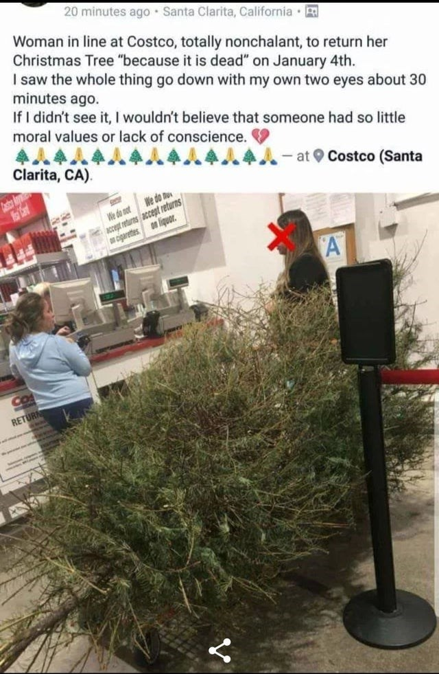"""Tree - 20 minutes ago • Santa Clarita, California · B Woman in line at Costco, totally nonchalant, to return her Christmas Tree """"because it is dead"""" on January 4th. I saw the whole thing go down with my own two eyes about 30 minutes ago. If I didn't see it, I wouldn't believe that someone had so little moral values or lack of conscience. Clarita, CA). - at O Costco (Santa Asto We do nu accept returns accept returns cigarettes on liquor. We do not A CO RETURN"""