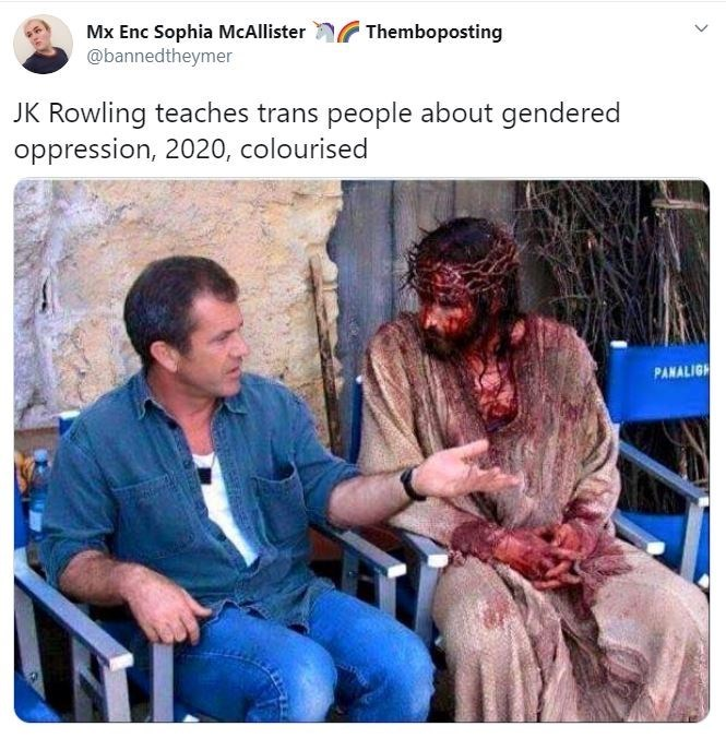 Human - Mx Enc Sophia McAllister @bannedtheymer Themboposting JK Rowling teaches trans people about gendered oppression, 2020, colourised PANALIGH