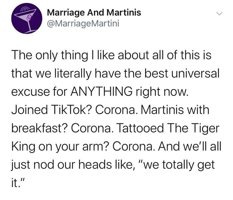 """Text - Marriage And Martinis @MarriageMartini The only thing I like about all of this is that we literally have the best universal excuse for ANYTHING right now. Joined TikTok? Corona. Martinis with breakfast? Corona. Tattooed The Tiger King on your arm? Corona. And we'll all just nod our heads like, """"we totally get it."""""""