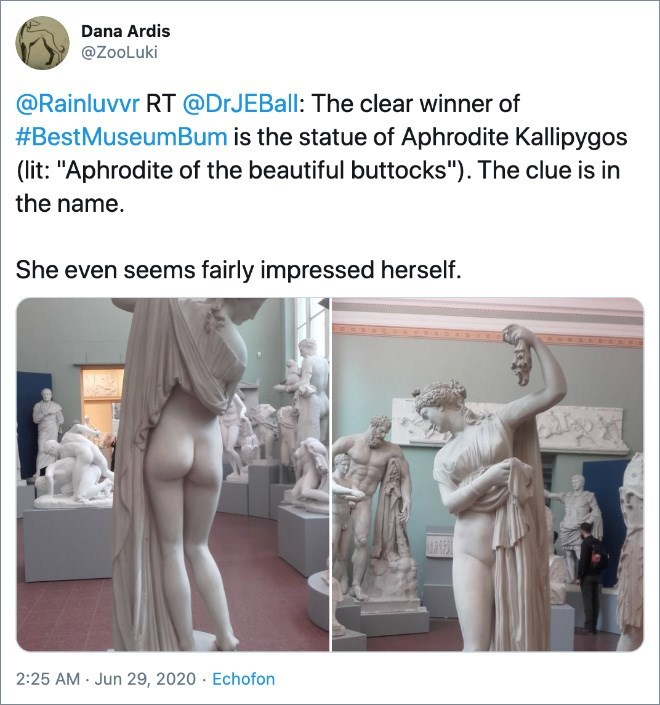 """Statue - Dana Ardis @ZooLuki @Rainluvvr RT @DrJEBall: The clear winner of #BestMuseumBum is the statue of Aphrodite Kallipygos (lit: """"Aphrodite of the beautiful buttocks""""). The clue is in the name. She even seems fairly impressed herself. 2:25 AM · Jun 29, 2020 · Echofon"""
