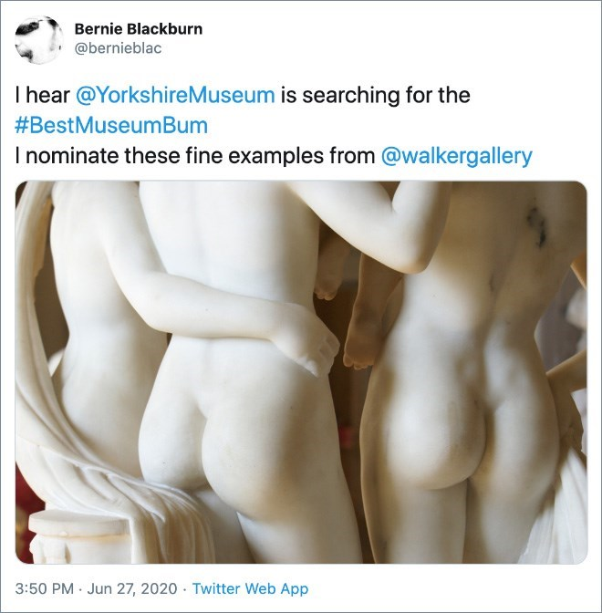 Joint - Bernie Blackburn @bernieblac I hear @YorkshireMuseum is searching for the #BestMuseumBum I nominate these fine examples from @walkergallery 3:50 PM · Jun 27, 2020 · Twitter Web App