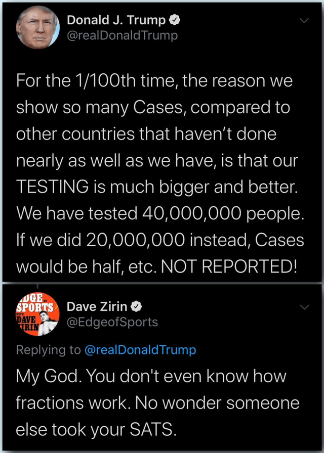 Text - Donald J. Trump @realDonaldTrump For the 1/100th time, the reason we show so many Cases, compared to other countries that haven't done nearly as well as we have, is that our TESTING is much bigger and better. We have tested 40,000,000 people. If we did 20,000,000 instead, Cases would be half, etc. NOT REPORTED! OGE SPORTS Dave Zirin DAVE TTRIN @EdgeofSports Replying to @realDonaldTrump My God. You don't even know how fractions work. No wonder someone else took your SATS.