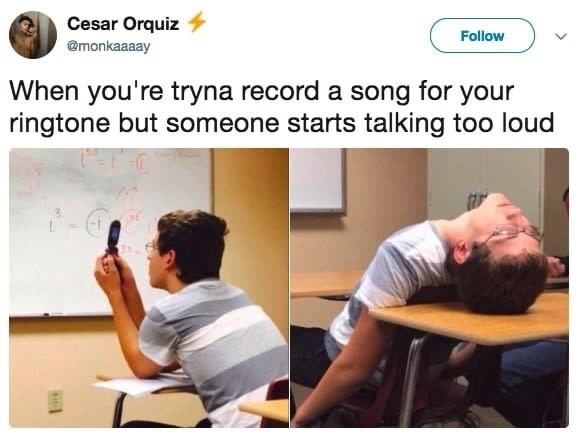 Text - Cesar Orquiz Follow @monkaaaay When you're tryna record a song for your ringtone but someone starts talking too loud