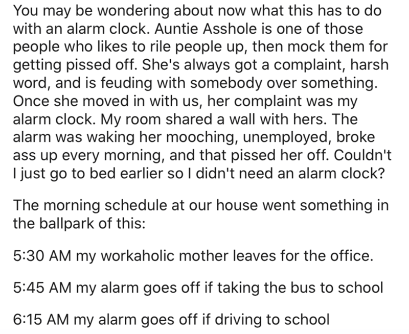 Text - You may be wondering about now what this has to do with an alarm clock. Auntie Asshole is one of those people who likes to rile people up, then mock them for getting pissed off. She's always got a complaint, harsh word, and is feuding with somebody over something. Once she moved in with us, her complaint was my alarm clock. My room shared a wall with hers. The alarm was waking her mooching, unemployed, broke ass up every morning, and that pissed her off. Couldn't I just go to bed earlier
