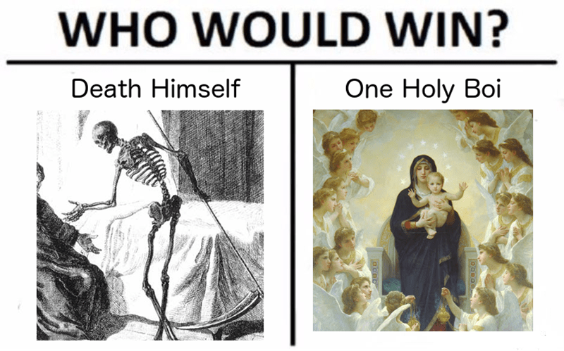 Text - WHO WOULD WIN? Death Himself One Holy Boi