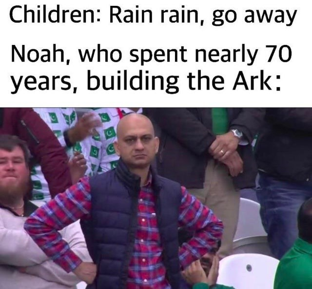 People - Children: Rain rain, go away Noah, who spent nearly 70 years, building the Ark: