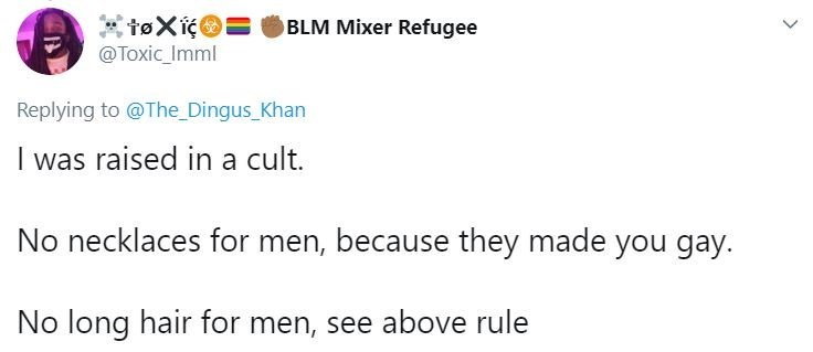 Text - BLM Mixer Refugee @Toxic_Imml Replying to @The Dingus_Khan I was raised in a cult. No necklaces for men, because they made you gay. No long hair for men, see above rule