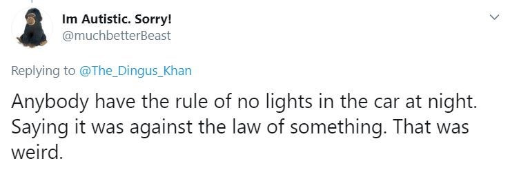 Text - Im Autistic. Sorry! @muchbetterBeast Replying to @The Dingus_Khan Anybody have the rule of no lights in the car at night. Saying it was against the law of something. That was weird.