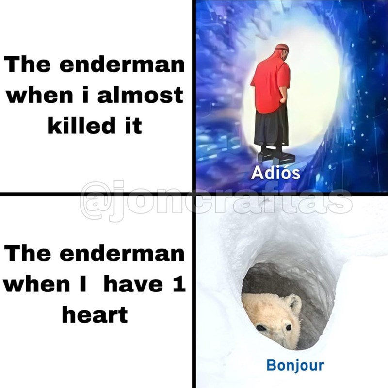 Text - The enderman when i almost killed it Adios Gotmeraitoas The enderman when I have 1 heart Bonjour