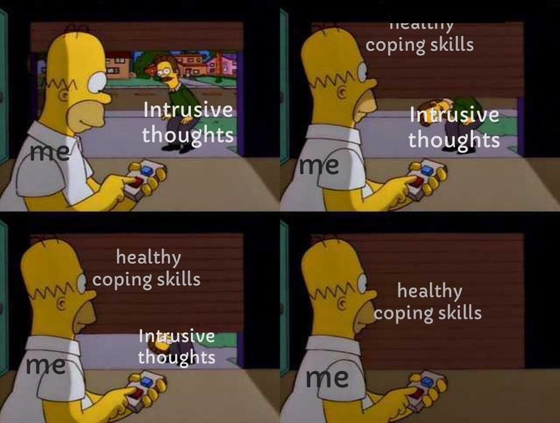 Cartoon - EatLIוד1y coping skills ww Intrusive thoughts Intrusive thoughts me me healthy mo coping skills healthy coping skills Intrusive thoughts me me