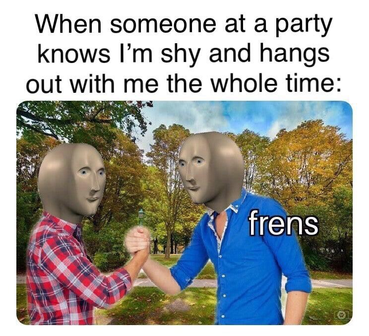 People - When someone at a party knows I'm shy and hangs out with me the whole time: frens