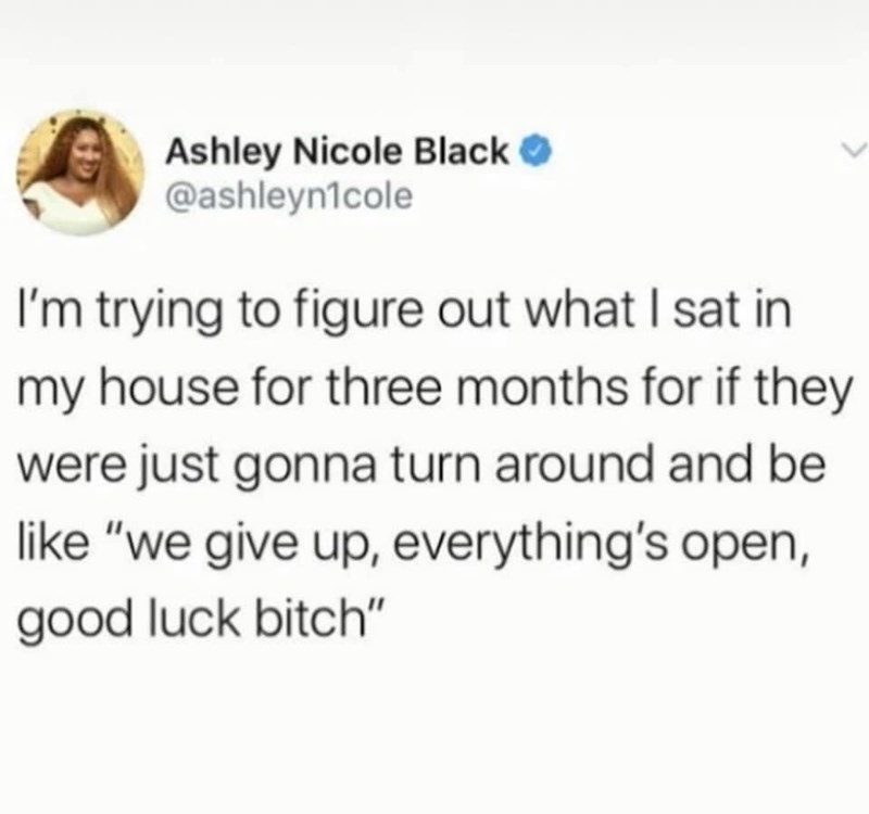 """Text - Ashley Nicole Black O @ashleyn1cole I'm trying to figure out what I sat in my house for three months for if they were just gonna turn around and be like """"we give up, everything's open, good luck bitch"""""""