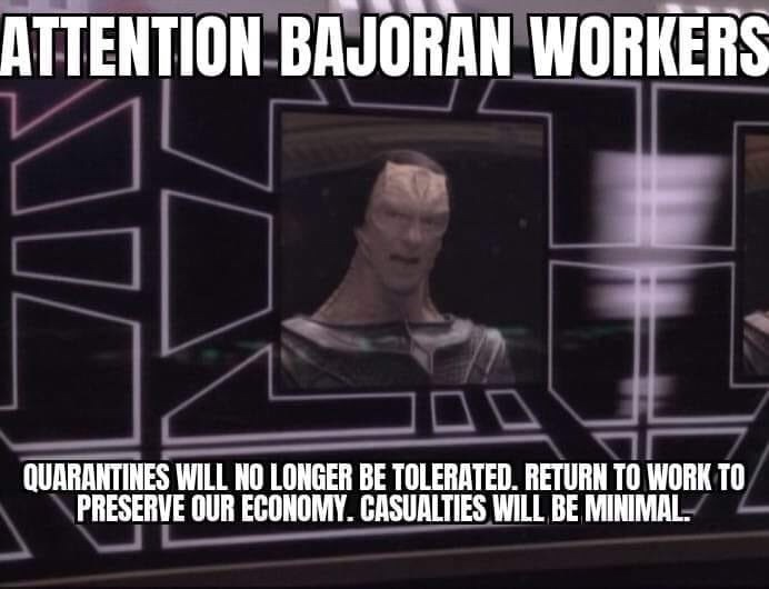 Font - ATTENTION BAJORAN WORKERS QUARANTINES WILL NO LONGER BE TOLERATED. RETURN TO WORK TO PRESERVE OUR ECONOMY. CASUALTIES WILL BE MINIMAL.