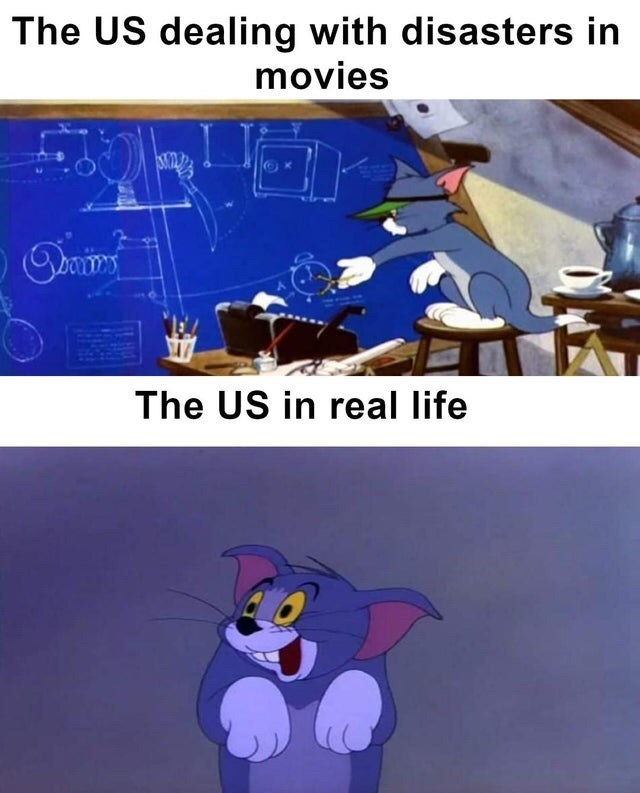 Cartoon - The US dealing with disasters in movies The US in real life