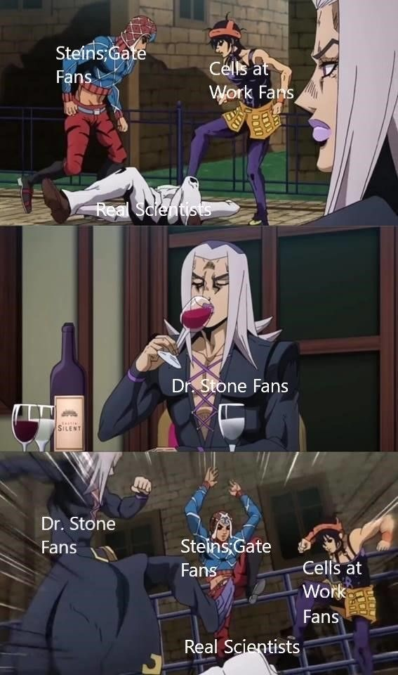 Cartoon - Steins;Gate Cells at Fans Work Fans Real Scientists Dr. Stone Fans SILENT Dr. Stone Fans Steins Gate Cells at Work Fans Fans Real Scientists