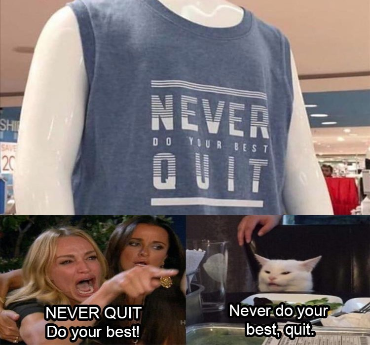 woman yelling at cat Never-do-your NEVER QUIT Do your best! Never do your best, quit.