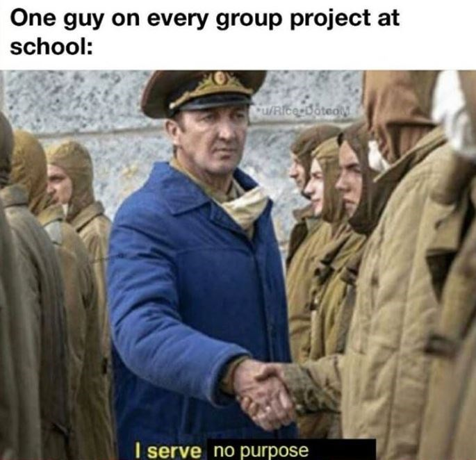 Adaptation - One guy on every group project at school: u/RicerDotedM I serve no purpose