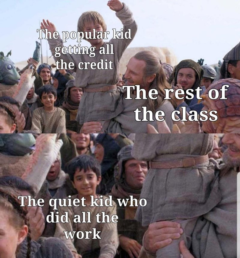 People - The popular kid getting all the credit The rest of the class The quiet kid who did all the work