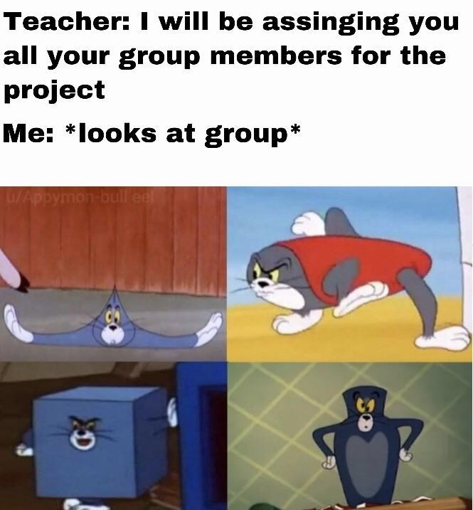 Cartoon - Teacher: I will be assinging you all your group members for the project Me: *looks at group* u/Appymon- bull eel