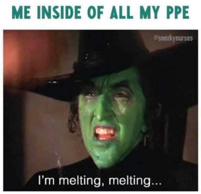 Photo caption - ME INSIDE OF ALL MY PPE @snarkynurses I'm melting, melting...
