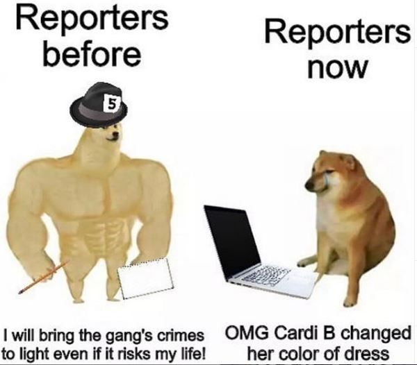 Output device - Reporters before Reporters now I will bring the gang's crimes OMG Cardi B changed to light even if it risks my life! her color of dress