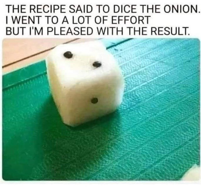 Games - THE RECIPE SAID TO DICE THE ONION. I WENT TO A LOT OF EFFORT BUT I'M PLEASED WITH THE RESULT.