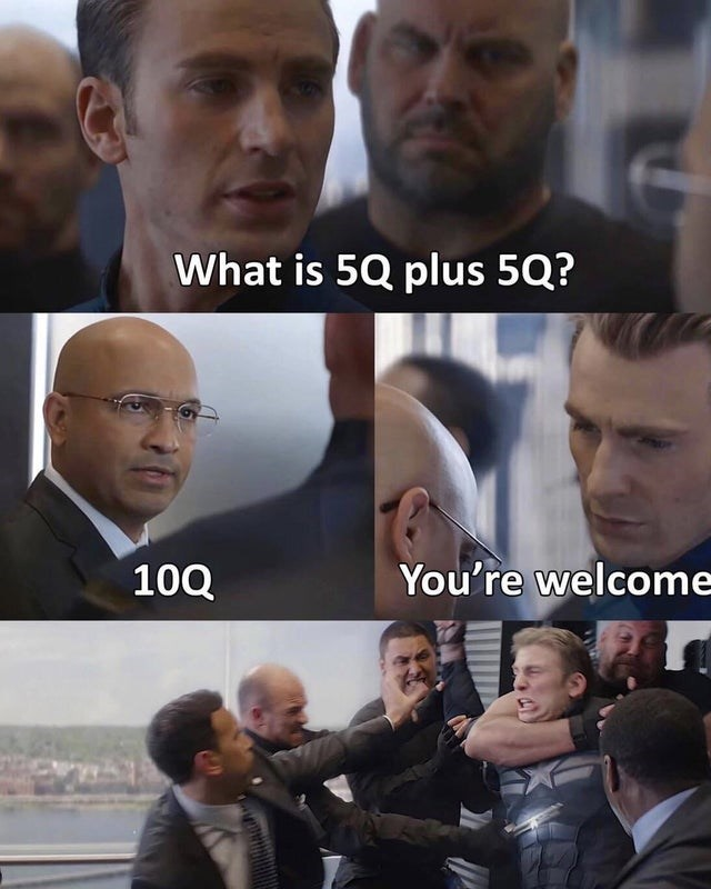 Facial expression - 50 What is 5Q plus 5Q? 10Q You're welcome