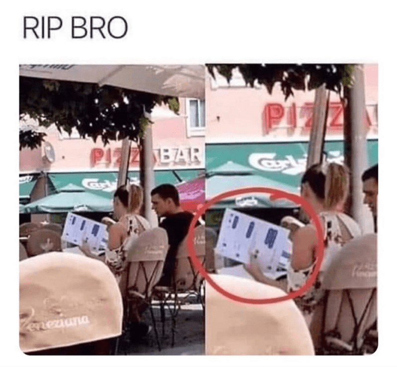 Funny meme about guy and girl out, girl has printed screenshots | RIP BRO