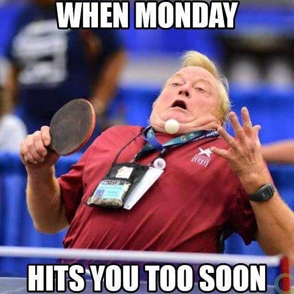 Photo caption - WHEN MONDAY HITS YOU TOO SOON