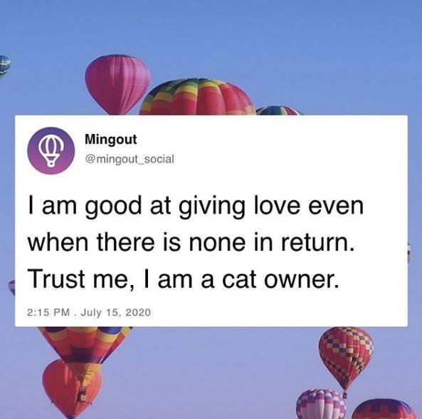 Hot air balloon - Mingout @mingout_social I am good at giving love even when there is none in return. Trust me, I am a cat owner. 2:15 PM. July 15, 2020