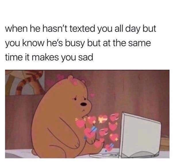 Organism - Text - when he hasn't texted you all day but you know he's busy but at the same time it makes you sad