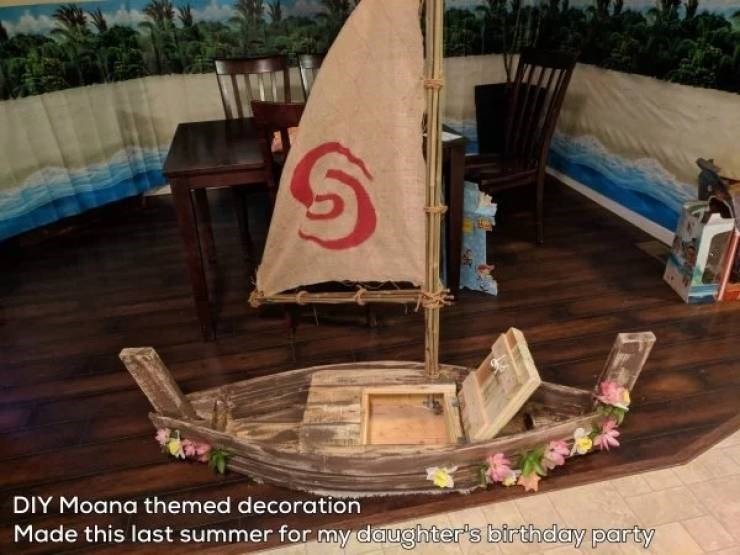 Water transportation - DIY Moana themed decoration Made this last summer for my daughter's birthday party