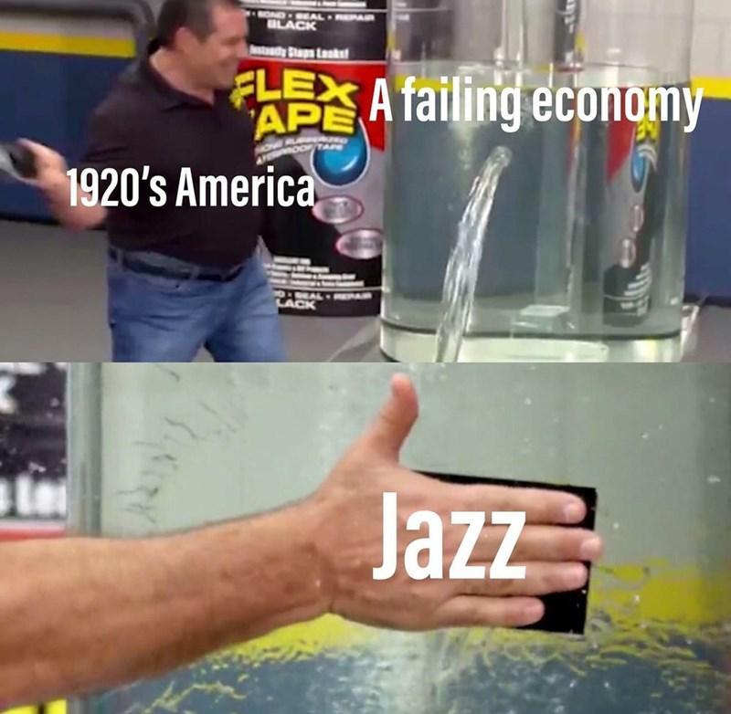 Water - OND-EAL BLACK Atdy Saps taskst FLEX A failing economy APE TAPE 1920's America 0 AL REPAR LACK Jazz