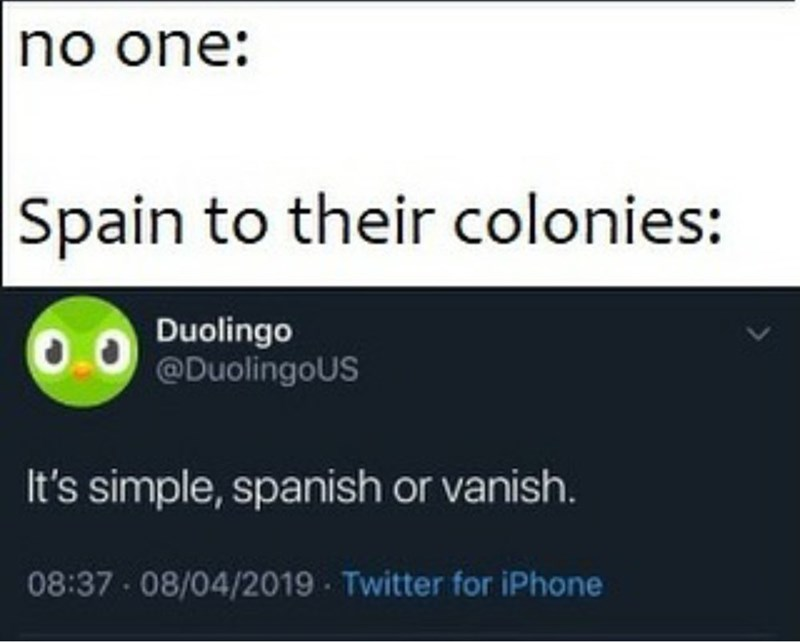 Text - no one: Spain to their colonies: Duolingo @DuolingoUS It's simple, spanish or vanish. 08:37 - 08/04/2019 Twitter for iPhone