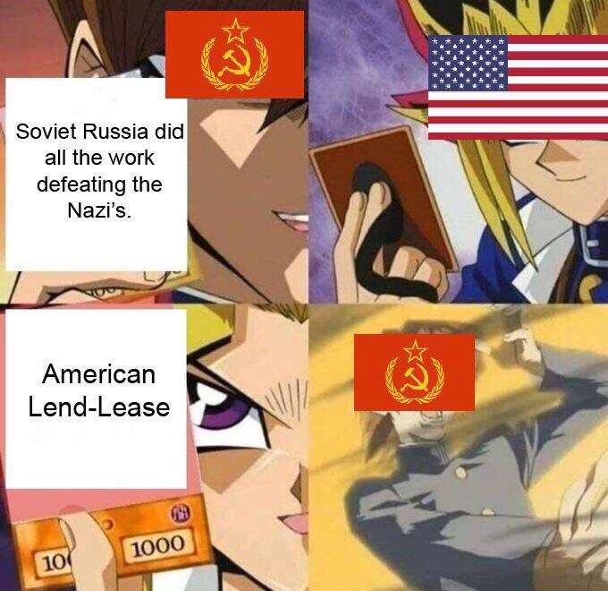 Cartoon - Soviet Russia did all the work defeating the Nazi's. American Lend-Lease 100 1000