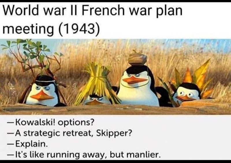 Bird - World war II French war plan meeting (1943) -Kowalski! options? -A strategic retreat, Skipper? - Explain. -It's like running away, but manlier.