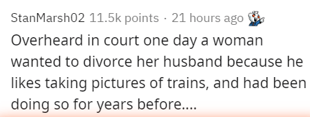 Text - StanMarsh02 11.5k points · 21 hours ago Overheard in court one day a woman wanted to divorce her husband because he likes taking pictures of trains, and had been doing so for years before...