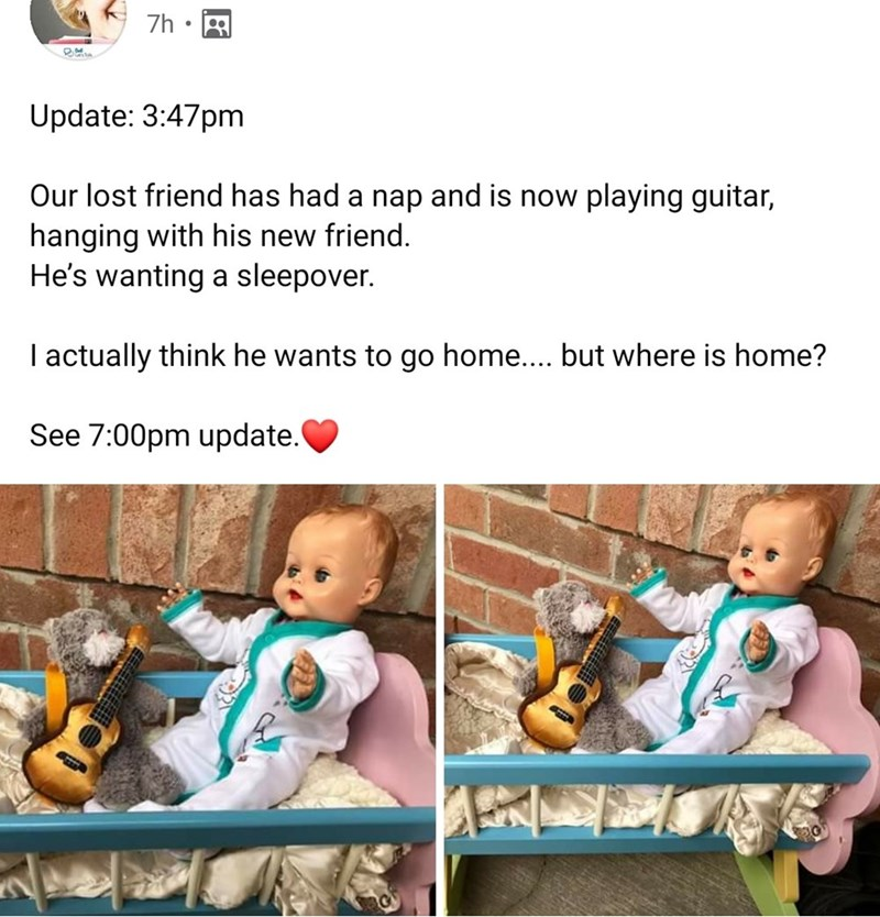 Child - 7h Update: 3:47pm Our lost friend has had a nap and is now playing guitar, hanging with his new friend. He's wanting a sleepover. I actually think he wants to go home.... but where is home? See 7:00pm update.