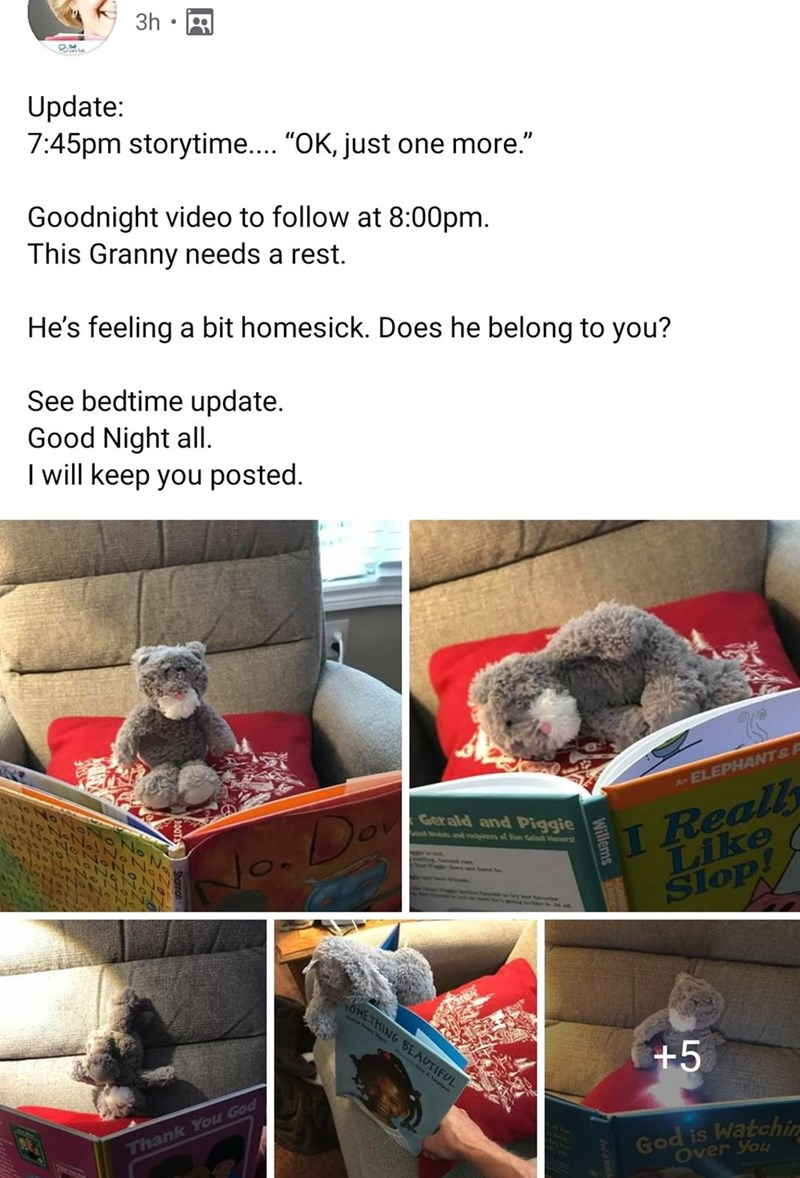 """3h Update: 7:45pm storytime.... """"OK, just one more."""" Goodnight video to follow at 8:00pm. This Granny needs a rest. He's feeling a bit homesick. Does he belong to you? See bedtime update. Good Night all. I will keep you posted. I Really Like Slop! An ELEPHANT& A Gerald and Piggie ds of Glod Wonarst No. Do OMETHING BEAUTIFUL +5 Thank You God God is Watchin Over You"""