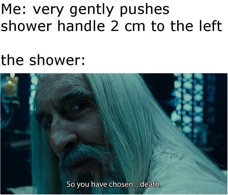 Text - Me: very gently pushes shower handle 2 cm to the left the shower: So you have chosen... death.
