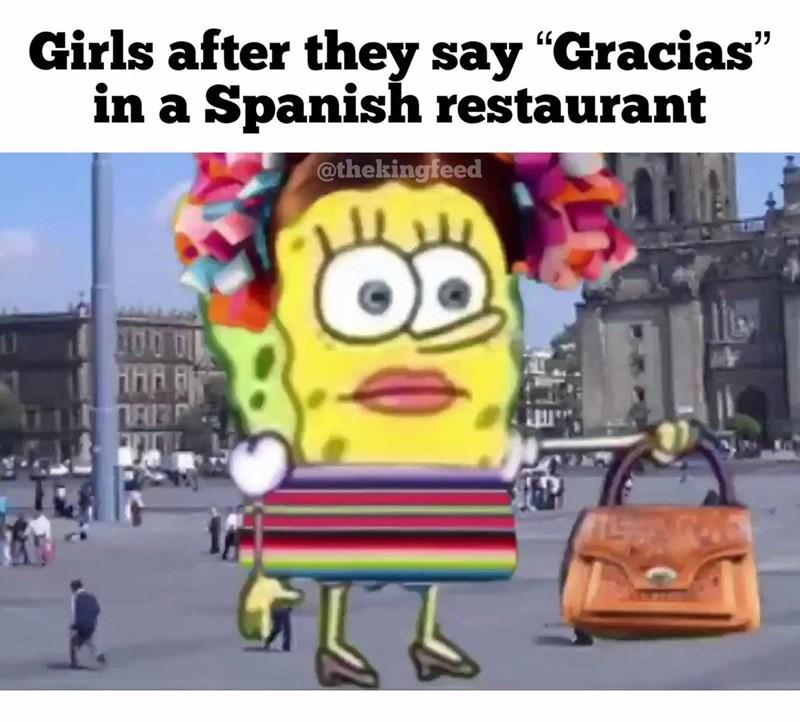 "Cartoon - Cartoon - Girls after they say ""Gracias"" in a Spanish restaurant 55 @thekingfeed 100 ihn TRIB"